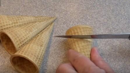 Taglia la parte superiore del cono con un coltello: l'idea creativa che stupirà tutti
