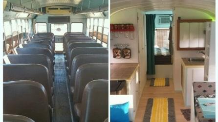 Trasforma lo scuolabus in una casa su ruote per poter girare il mondo