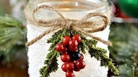 Come realizzare un centrotavola natalizio con un vecchio barattolo