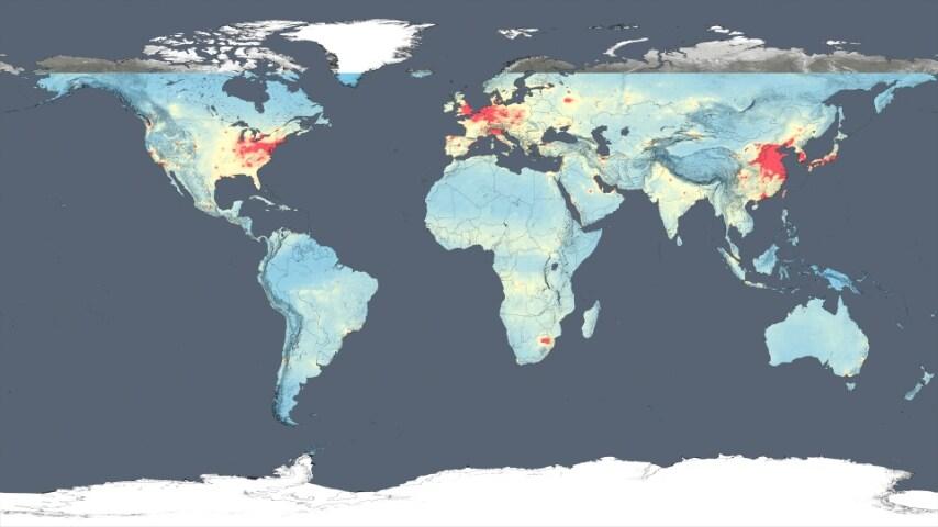 La tendenza al rosso rappresenta un'alta concentrazione, bassa verso il blu.
