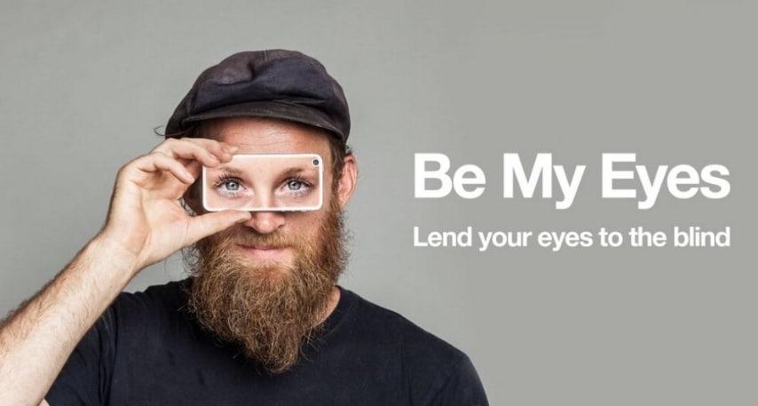 """Si tratta di un'applicazione che permette di """"prestare"""" i proprio occhi a un non vedente. , chi vede può rispondere alle domande dei non vedenti. Finora sono oltre 115.000 le persone aiutate. (http://www.bemyeyes.org/)"""