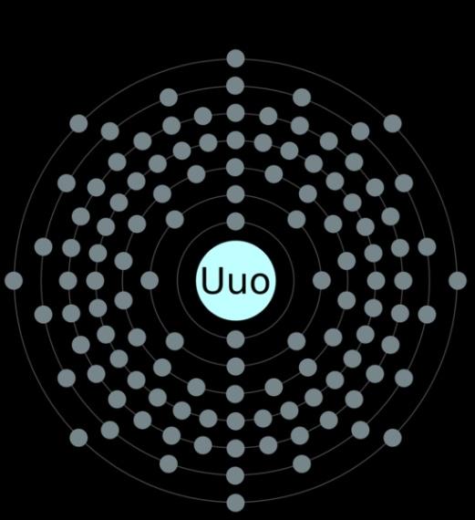 È l'elemento 118 al quale è stato assegnato il nome Ununoctium e il simbolo Uuo. Credit: https://commons.wikimedia.org/wiki/File:Electron_shell_118_ununoctium.png