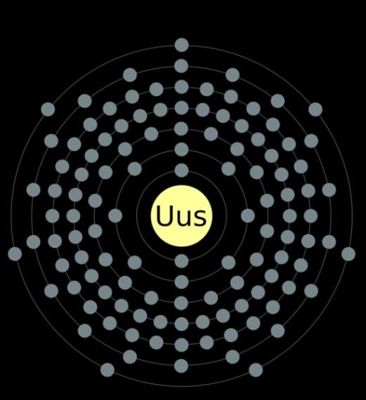 È l'elemento 117 al quale è stato assegnato il nome Ununseptium e il simbolo Uus. Credit: https://commons.wikimedia.org/wiki/File:Electron_shell_117_ununseptium.png