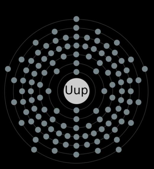 È l'elemento 115 al quale è stato assegnato il nome Ununpentium e il simbolo Uup. Credit: https://commons.wikimedia.org/wiki/File:Electron_shell_115_ununpentium.png