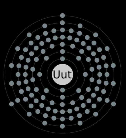 È l'elemento 113 al quale è stato assegnato il nome Ununtrium e il simbolo Uut. È il primo elemento scoperto in Asia. Credit: https://commons.wikimedia.org/wiki/File:Electron_shell_113_ununtrium.png