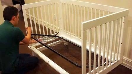 Il bimbo ormai è grande: ecco il papà come trasforma la culla