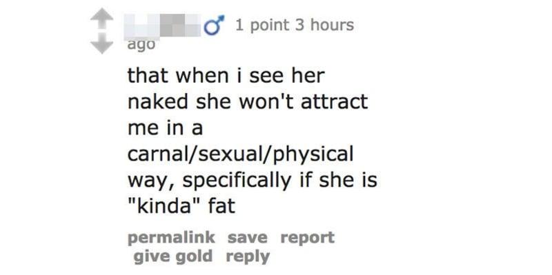 """Che quando la vedo nuda non mi attrae abbastanza carnalmente/sessualmente/fisicamente... soprattutto se è """"tipo"""" grassa"""