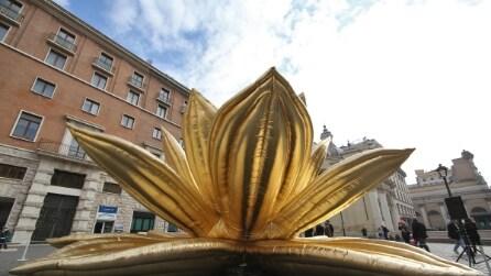 Il Golden Lotus, un fiore gigante al centro di Roma