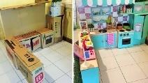 Con dei semplici cartoni la mamma costruisce una mini cucina alla figlia
