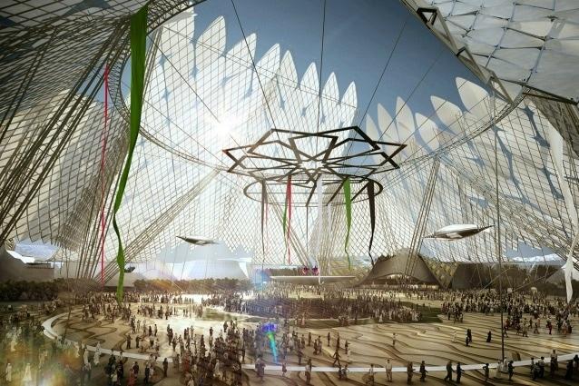 """Cuore letterale e figurato di Expo 2020 Dubai sarà la piazza Al Wasl, che in arabo significa """"connessione"""", da cui partiranno tre grandi petali con le tre aree tematiche della manifestazione: Opportunità, Sostenibilità e Mobilità."""