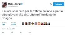 Spagna, tragedia Erasmus: il cordoglio dei politici italiani sui social