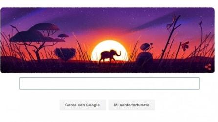 Un elefante passeggia al tramonto, il doodle di Google per la Giornata della Terra