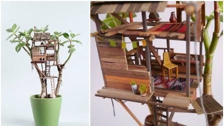 Miniature di case sull'albero: l'arte di Jedediah Voltz