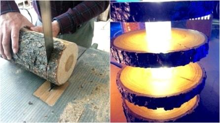 Come realizzare una bellissima lampada con un ceppo di legno
