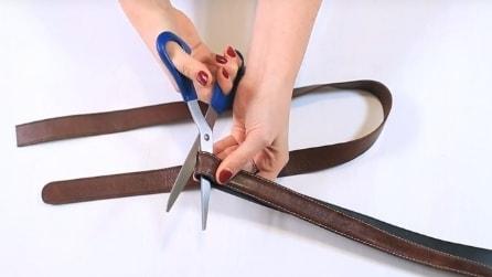 Taglia una vecchia cinta e la trasforma in modo geniale