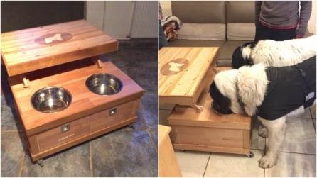 Come trasformare vecchi mobili in un tavolo porta ciotole che i vostri cani adoreranno
