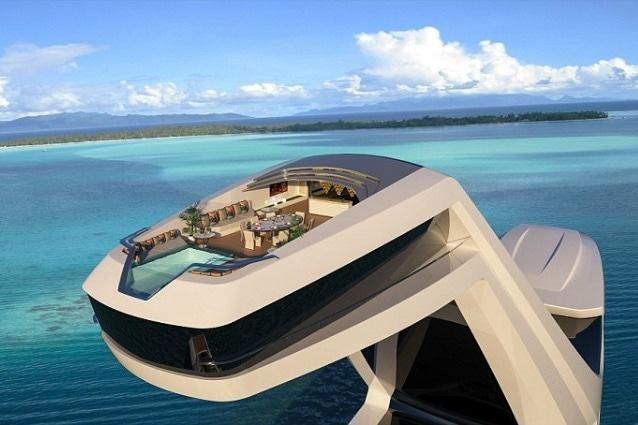 Il nuovo super yacht del designer italiano Gabriele Teruzzi è caratterizzato da una cabina principale sospesa a 40 metri sul livello del mare.