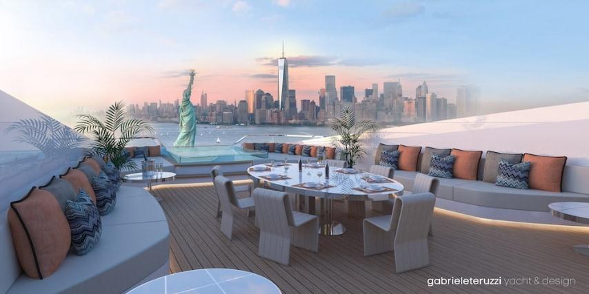 Questa è la vista dalla terrazza a 40 metri sul mare che promette viste panoramiche mozzafiato ovunque si decida di condurre il super yacht di lusso