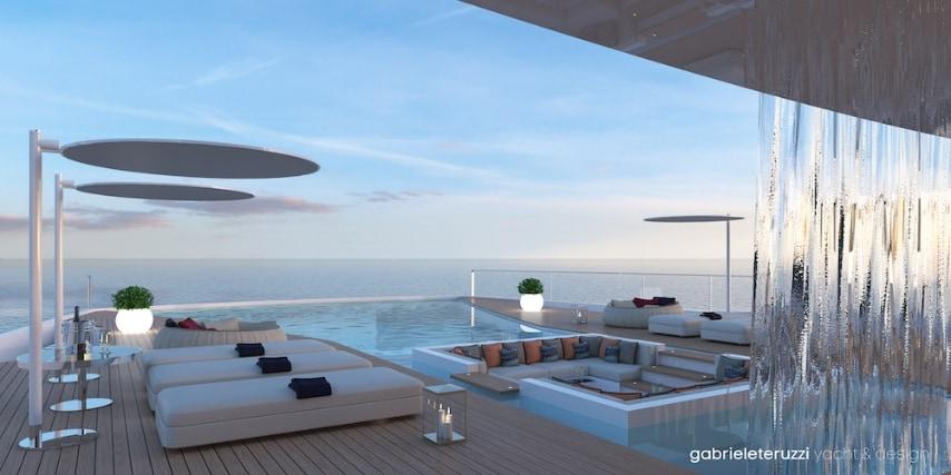 La zona sospesa, ampia circa 100 metri quadrati, comprende un'ampia terrazza con piscina a strapiombo sul mare.