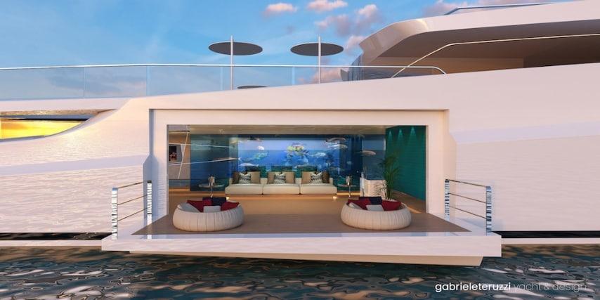 All'interno la nave gode di ogni comfort di uno yacht di lusso ma ciò che stupisce di più è la presenza nel salone principale di un soffitto vetrato che corrisponde al fondo della piscina della cabina sopraelevata creando un effetto a specchio davvero suggestivo.