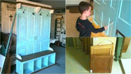 Come trasformare una porta vecchia in una panca appendiabiti vintage