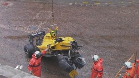 GP Monaco, Palmer a muro: è fuori!