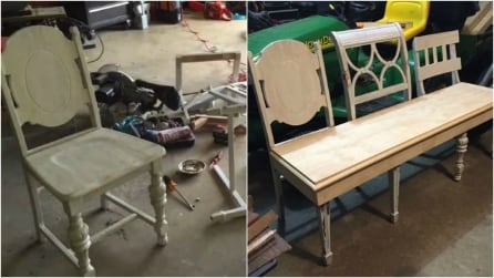 Come riciclare vecchie sedie di legno e creare un'originale panca di design