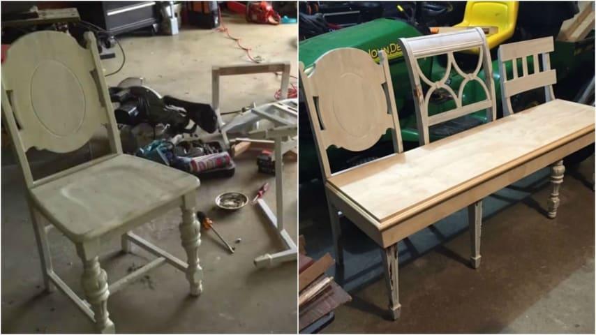Vecchie Panchine Da Giardino.Come Riciclare Vecchie Sedie Di Legno E Creare Un Originale Panca Di