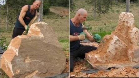 Lo scultore inizia a lavorare un'enorme pietra: il risultato finale è impressionante