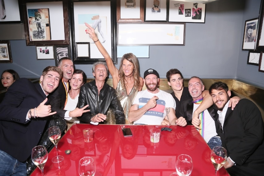 Pietro Boselli con Anna Dello Tusso, Giampaolo Scura, Dean e Dan Caten e altri ospiti all'after party di Dsqaured2