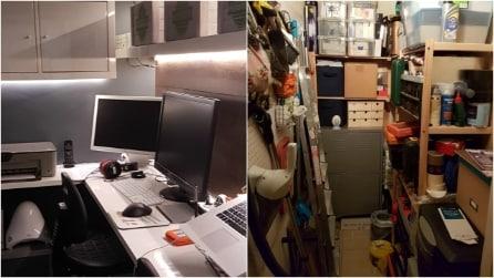 Un bambino a casa e aver bisogno di un ufficio: la soluzione di questa donna è geniale