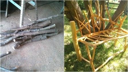 Come riutilizzare dei rami secchi e realizzare un'originale panchina da giardino