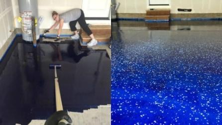 Versa uno strano liquido sul pavimento: il risultato finale è meraviglioso