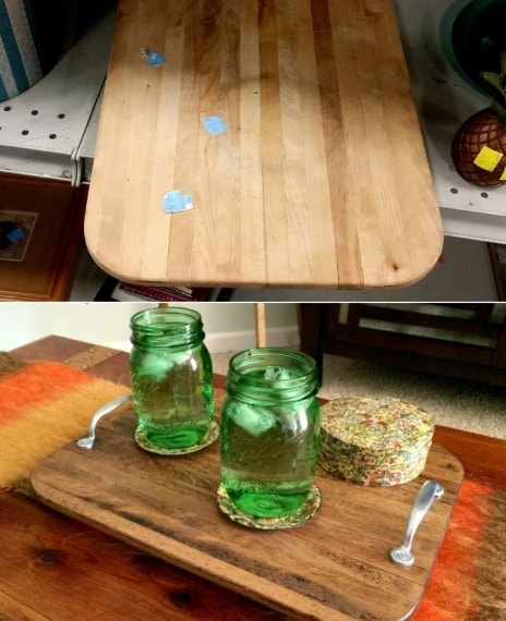 """Fissando due maniglie sul tagliere è possibile creare un bel vassoio in stile """"rustico"""""""