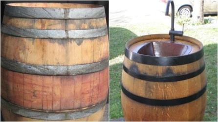 Come riciclare una vecchia botte e trasformarla in un lavandino da esterno