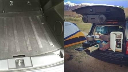 Trasformano il retro della loro auto: un'ingegnosa idea fai da te per il campeggio