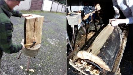 Prende il ceppo di legno e inizia a intagliare: ciò che crea è spettacolare