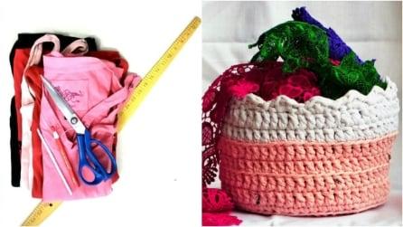 Come riciclare le magliette vecchie e realizzare un originale cestino all'uncinetto