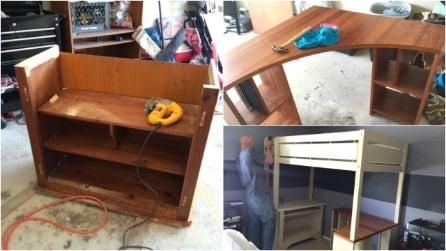 Ricicla vecchi mobili e li assembla per creare qualcosa di unico: il risultato è sbalorditivo