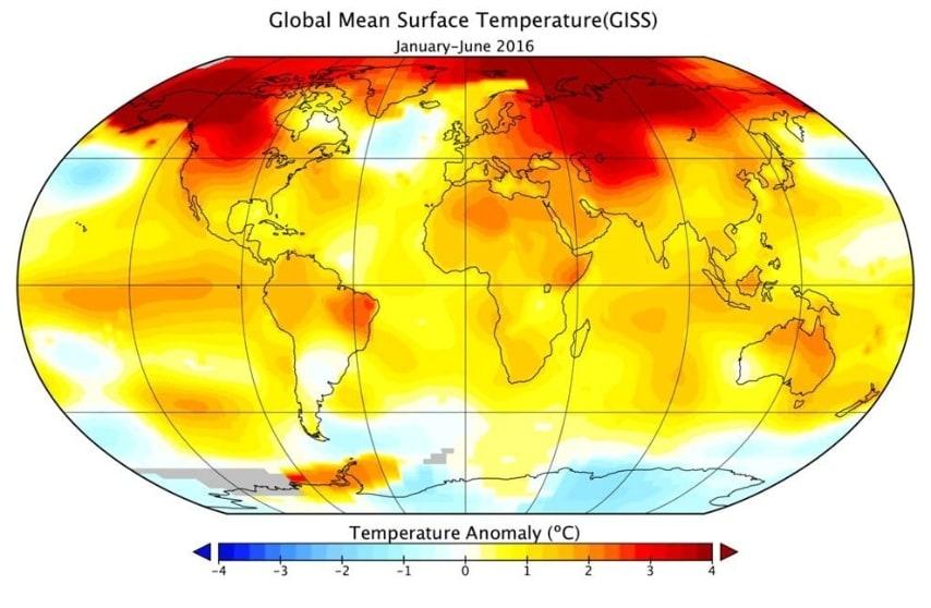 La cartina illustra la distribuzione di picchi di caldo anomali sulla superficie terrestre.
