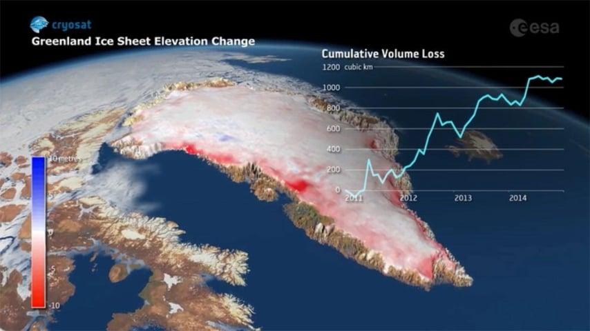 I dati rilevati dall'Esa mostrano la riduzione dello spessore del ghiaccio in Groenlandia dal 2011 al 2014.