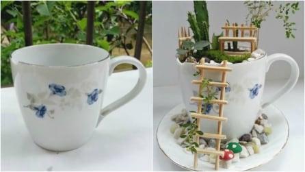 Prende una vecchia tazzina e crea un giardino in miniatura: il risultato è sorprendente