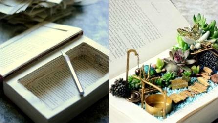 Prende un libro e lo trasforma in un mini-giardino: ciò che crea è sorprendente