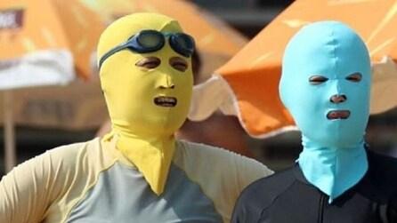 Facekini, la maschera cinese che protegge il viso dai raggi del sole