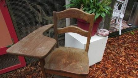 Prende delle vecchie tazze e dei pezzi di vetro e ciò che realizza su questa sedia è fantastico