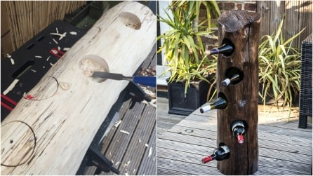 Come riciclare un tronco e trasformarlo in un portabottiglie di design