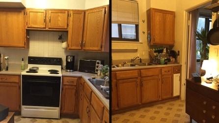 Da sola, rinnova la sua cucina: la trasformazione è straordinaria
