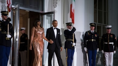 Il look di Michelle Obama all'ultima cena di Stato