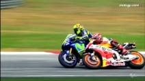 MotoGP, Rossi-Marquez: il calcio di Sepang