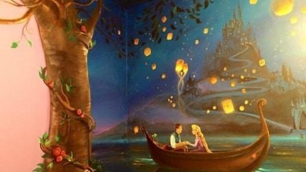 Questa mamma realizza un murale ispirato alla Disney per la figlia: la camera è un incanto